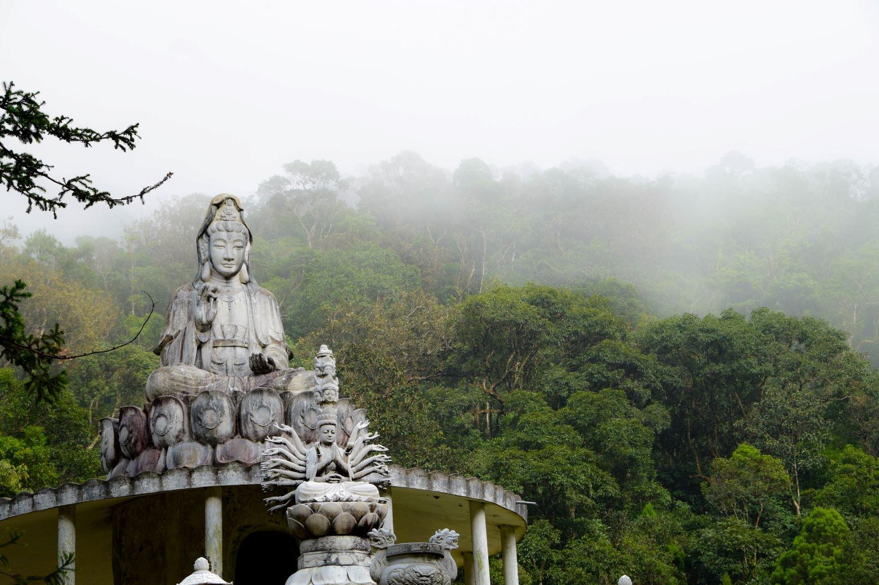 bức tượng Phật Thích Ca Mâu Ni đang thiền định trên một ngọn đồi cao 24 mét