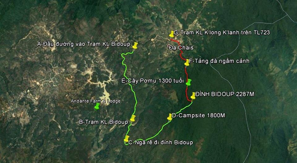 Bản đồ các điểm trong cung đường trekking